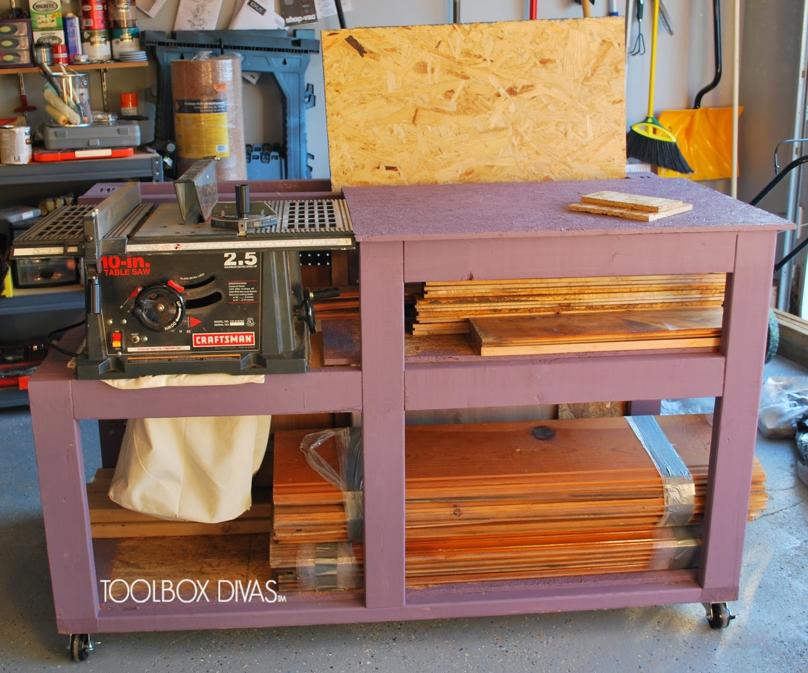 Table Saw Workbench With Wood Storage Toolbox Divas