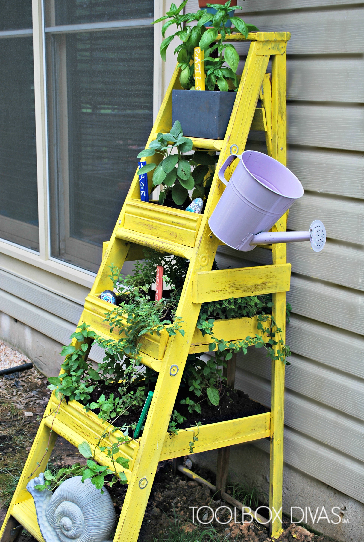 Turn That Old Wooden Ladder Into An Herb Garden