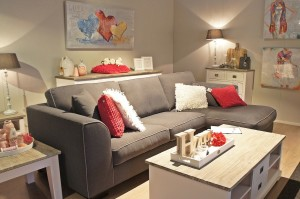 living room with pop of color