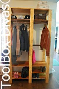 Wood Slat Entry Closet
