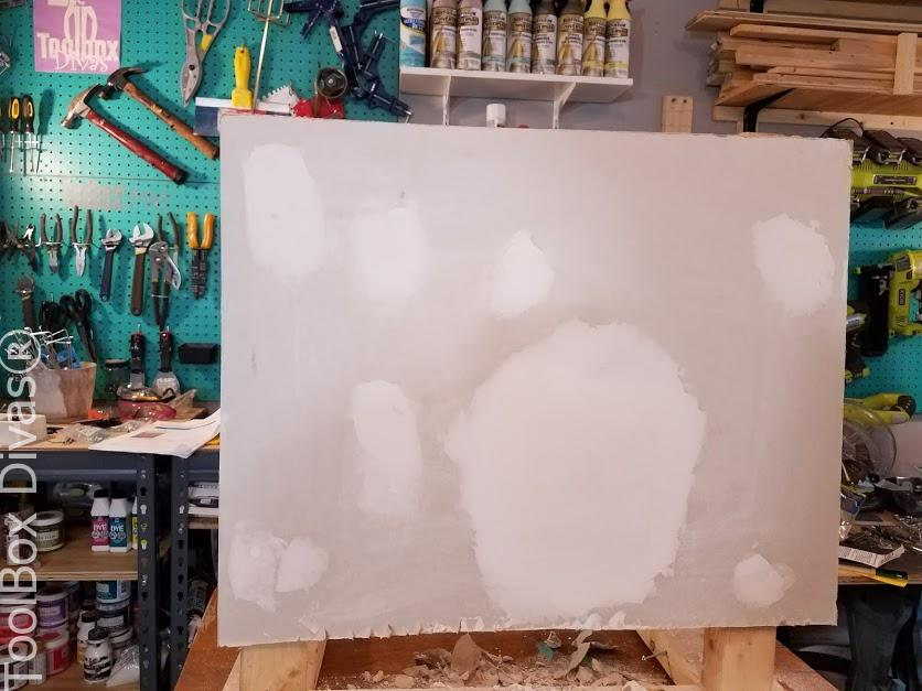 Learn How to Patch a Hole in Drywall - Toolbox Divas -after sanding