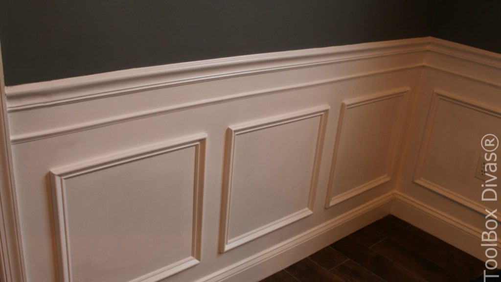 How to Install Picture Frame Moulding Wainscoting - ToolBox Divas Wainscoting Molding on carpet molding, marble molding, sink molding, bathroom molding, drywall molding, fascia molding, wayne's molding, baseboards molding, travertine molding, painting molding, kitchen molding, stone molding, furniture molding, plaster molding, window molding, chair rail molding, wainscot cap molding, paint molding, floor molding, board and batten molding,