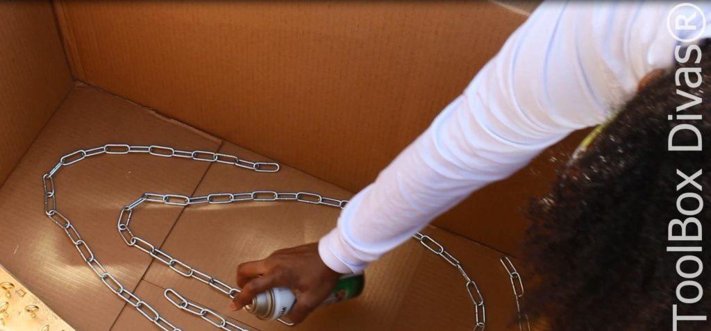 Spray paint hardware - Indoor Vertical Garden - Toolbox Divas