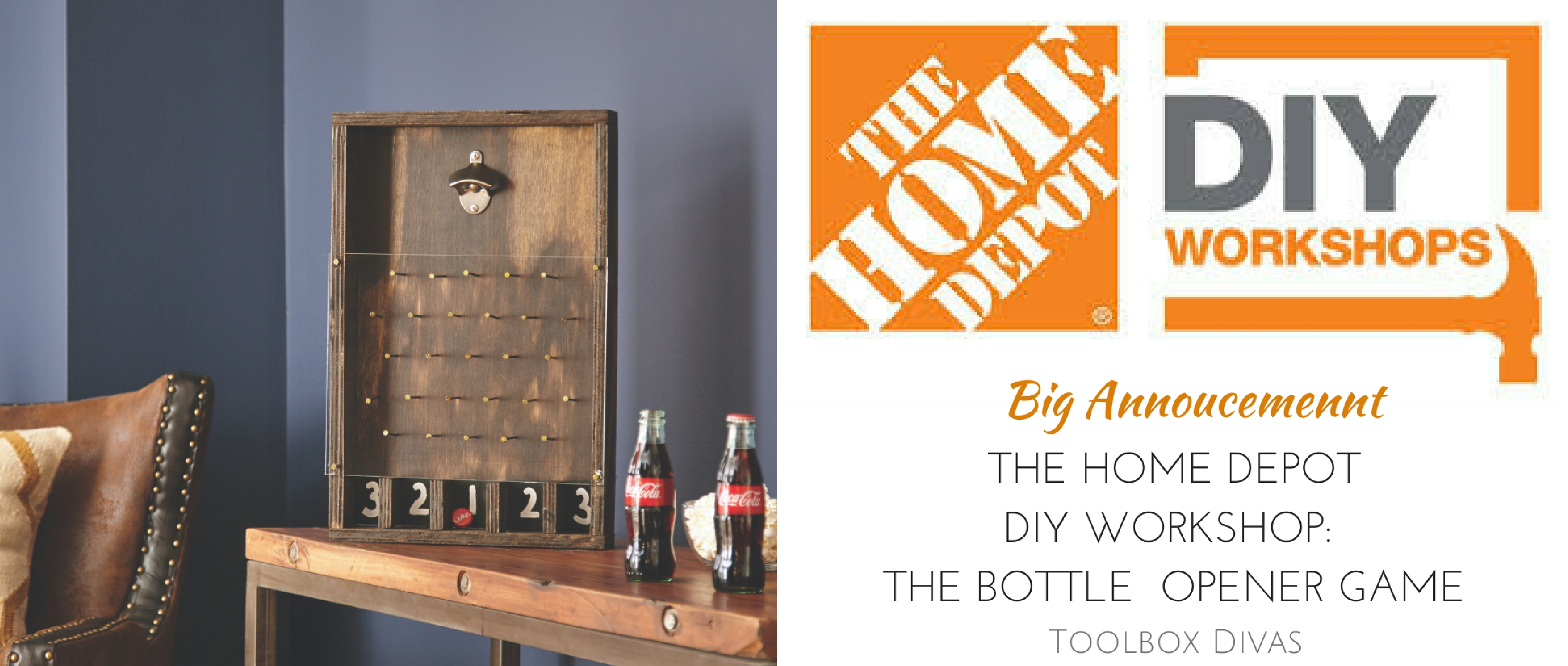 the home depot diy workshop father s day bottle opener game toolbox divas. Black Bedroom Furniture Sets. Home Design Ideas