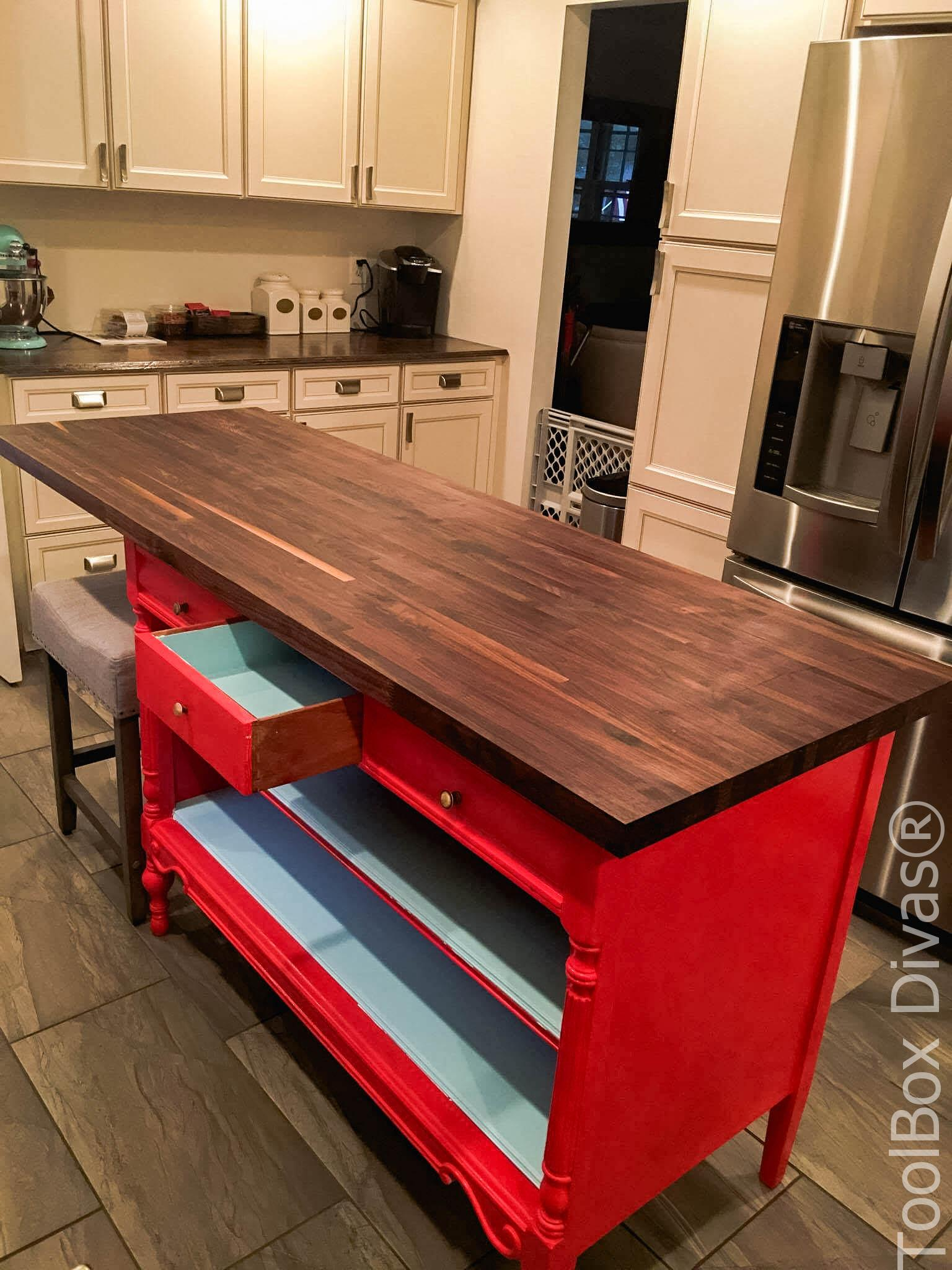 All Dressed Up Turn An Old Dresser Into A Kitchen Island Toolbox Divas