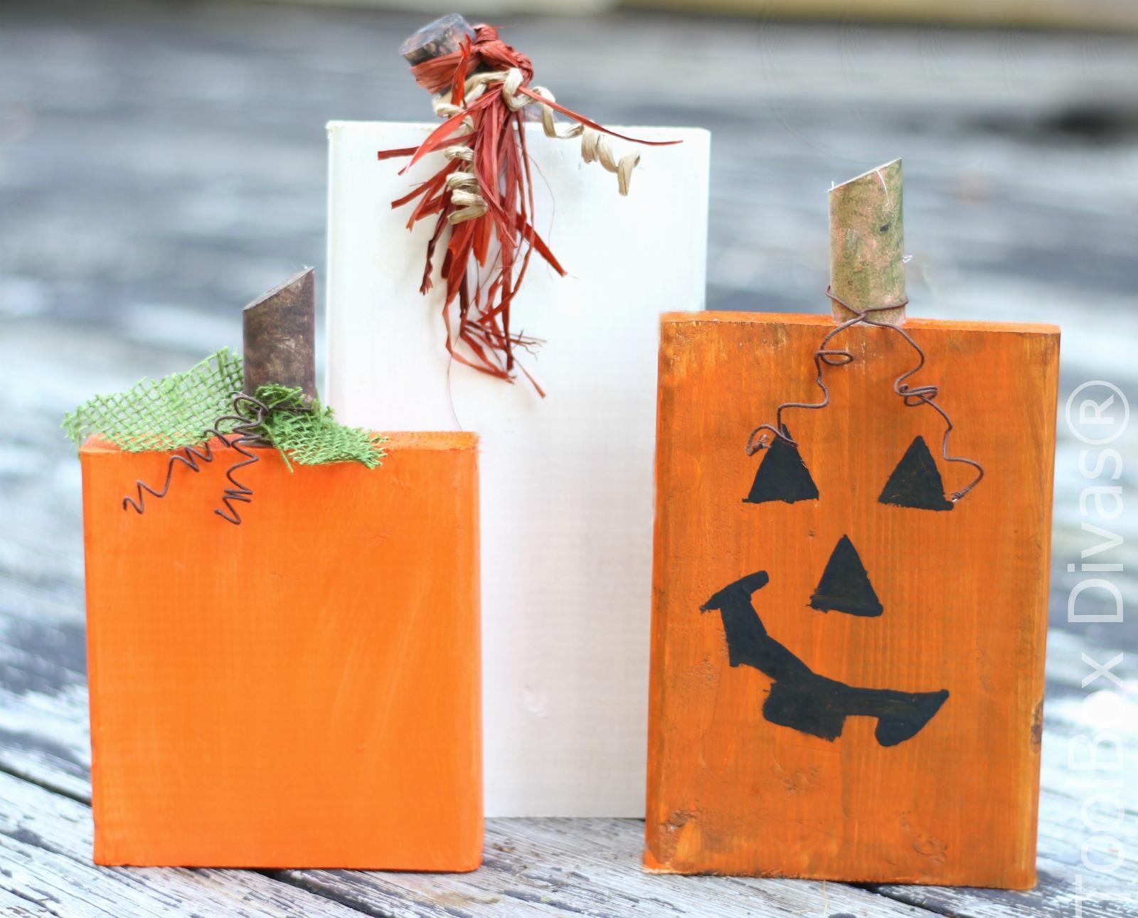Quick 30 Minute DIY Wooden Block Pumpkins