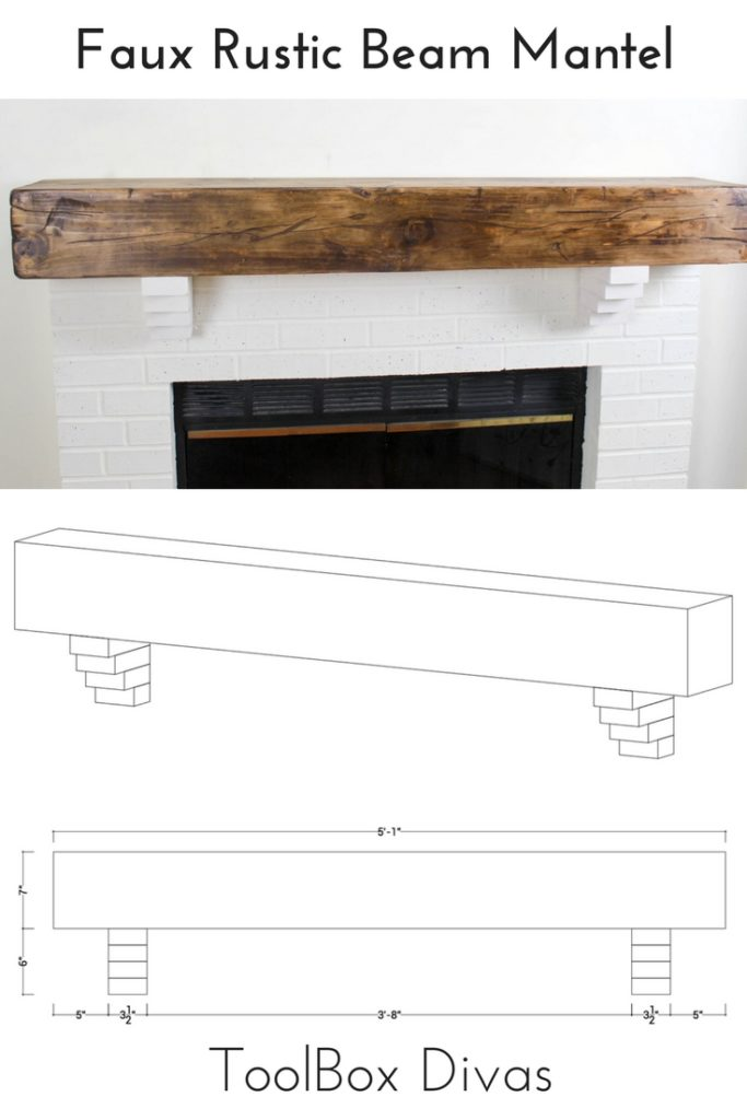 How to Build a DIY Faux Rustic Beam Mantel Shelf - Toolbox Divas