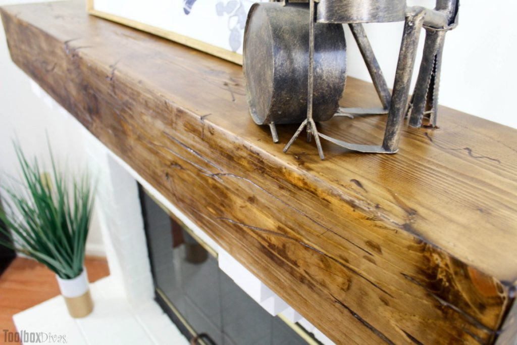 DIY Rustic Fireplace Mantel Toolbox Divas (6 of 25)