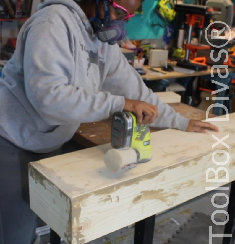 How to build a Rustic Faux wood beam mantel or floating shelf - Toolbox Divas 35