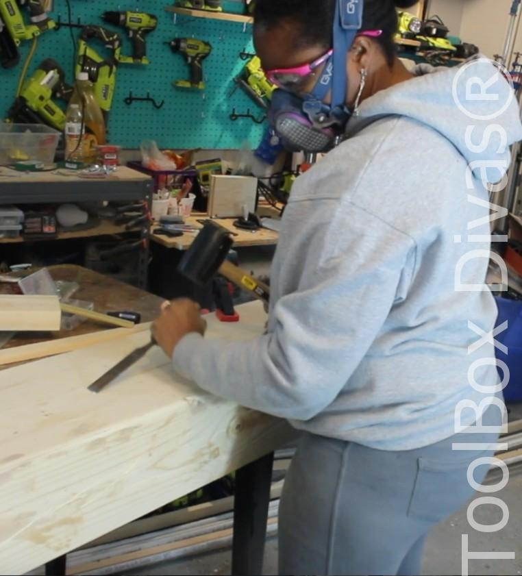 How to build a Rustic Faux wood beam mantel or floating shelf - Toolbox Divas 31