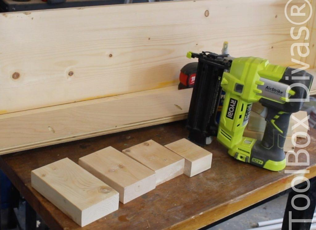 How to build a Rustic Faux wood beam mantel or floating shelf - Toolbox Divas 20