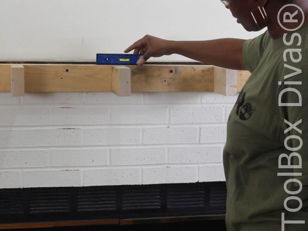 How to build a Rustic Faux wood beam mantel or floating shelf - Toolbox Divas 3