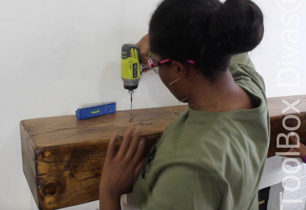 How to build a Rustic Faux wood beam mantel or floating shelf - Toolbox Divas 1