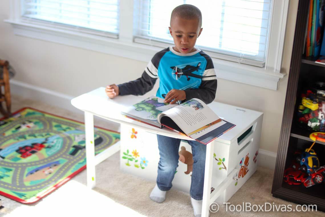 Desk and Bench Set w/Toy Box Storage