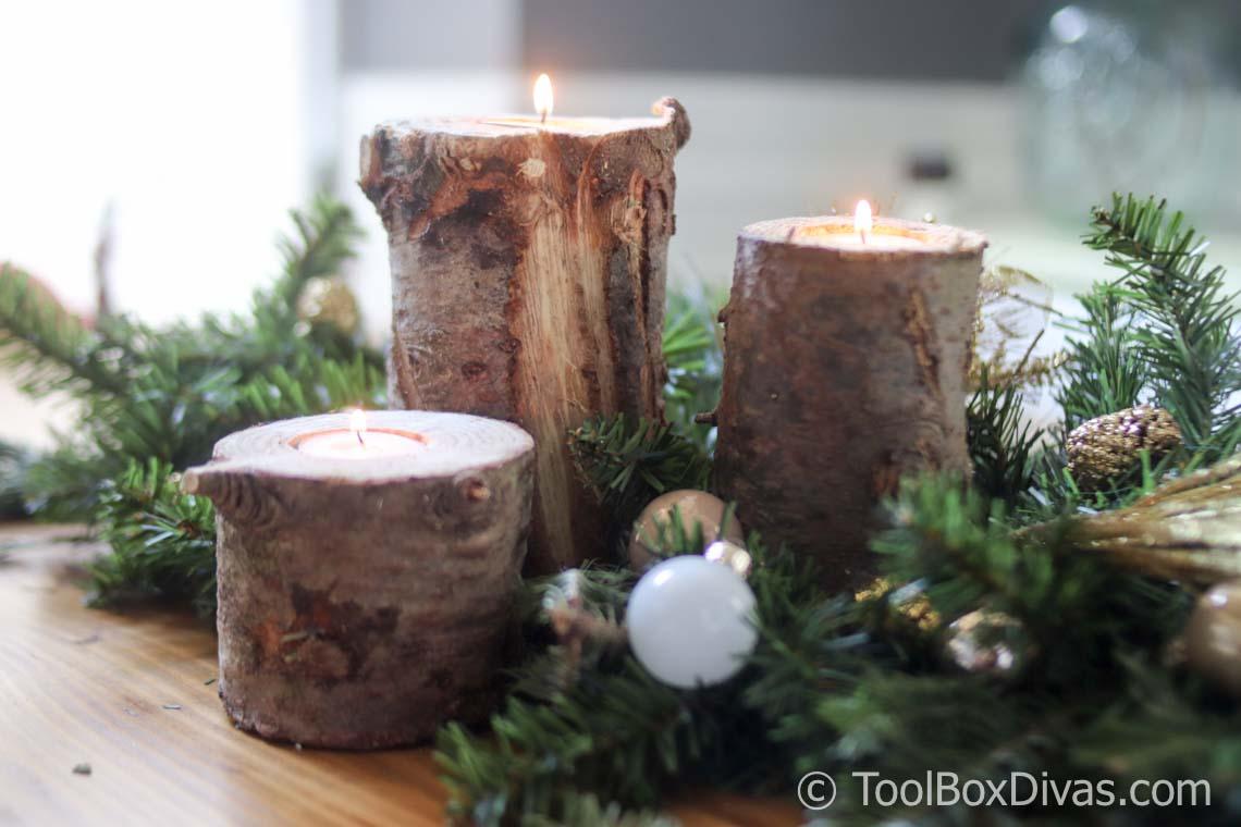 Diy Christmas Tree Trunk Candle Holder Toolbox Divas