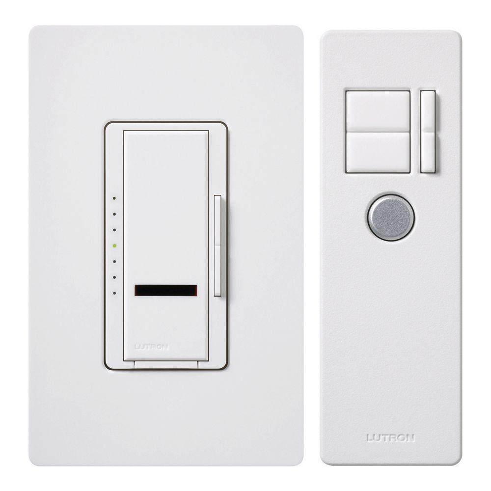 Lutron Maestro IR 600-Watt Single-Pole Digital Dimmer, White