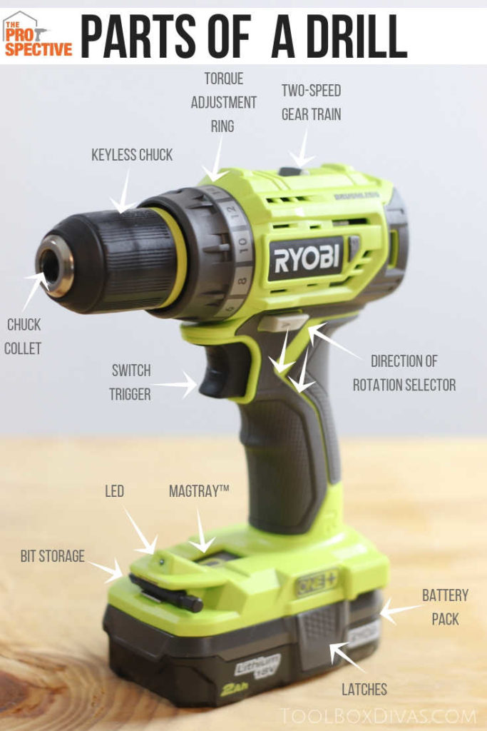 parts of a drill. learn how to use a drill in easy to follow guide. @toolboxdivas