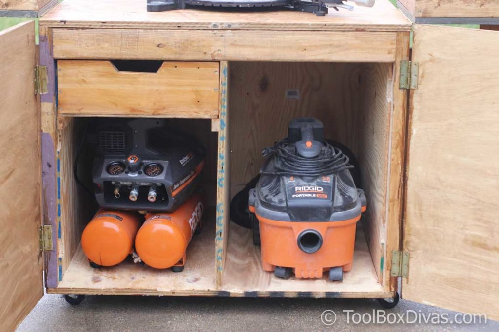DIY Miter saw Cart and stand re-purpose old workbench with dust collection and storage for compressor @Toolboxdivas