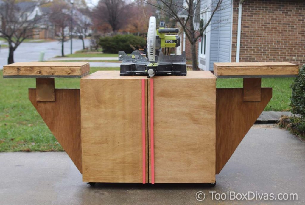DIY Miter saw Cart and stand old workbench re-purposed @Toolboxdivas