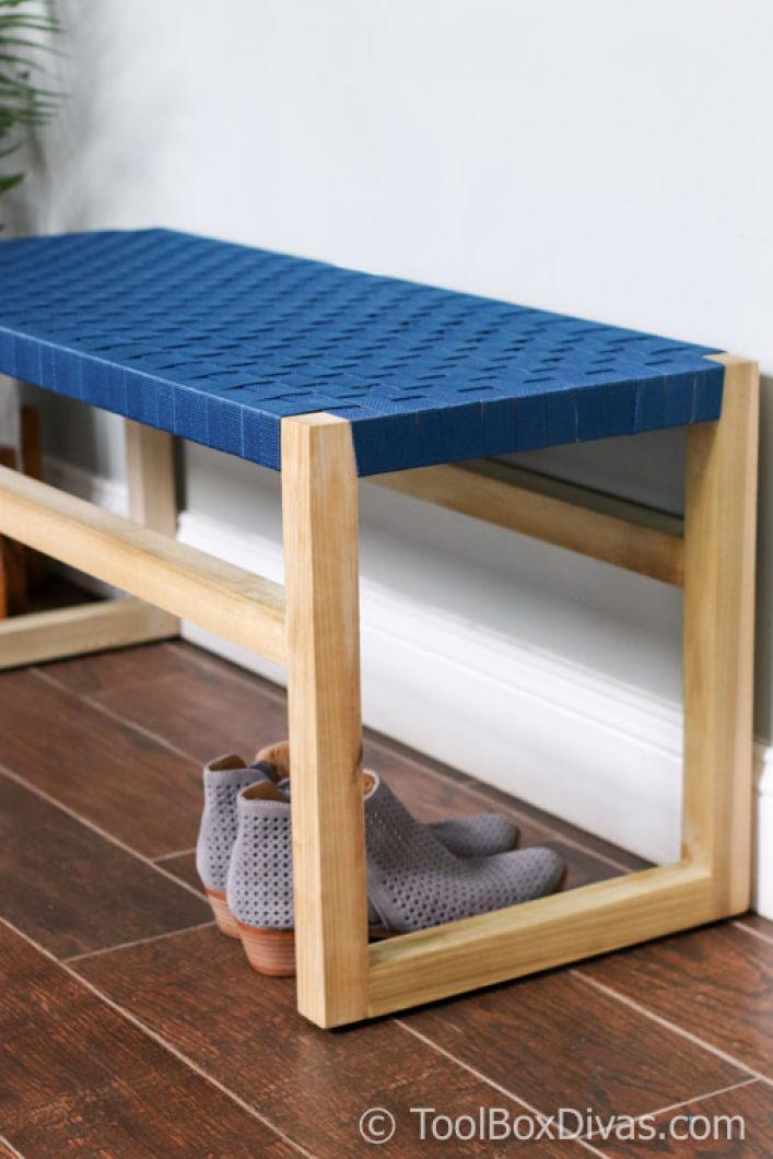 Wondrous Modern Wooden Bench With Woven Fabric Seat Toolbox Divas 4 Creativecarmelina Interior Chair Design Creativecarmelinacom