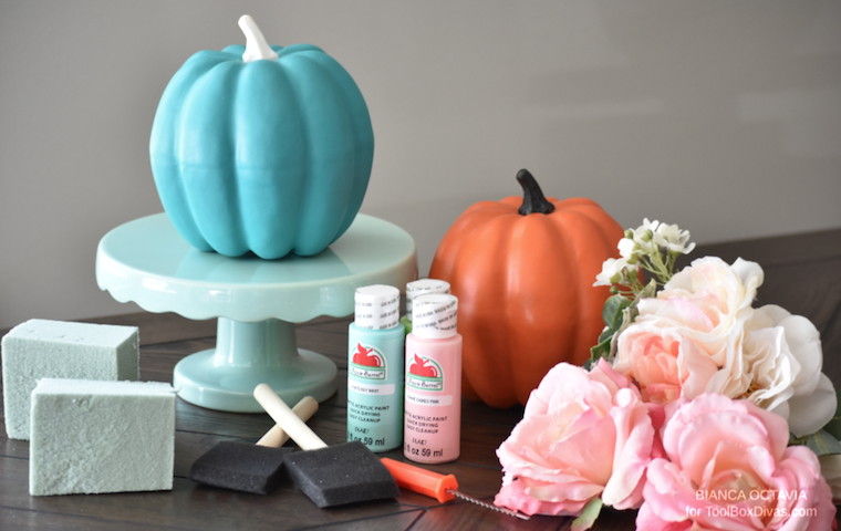 Faux Floral Fall DIY Pumpkin Vase centerpiece ideas - @ToolBoxDivas Fall decor fall arrangements