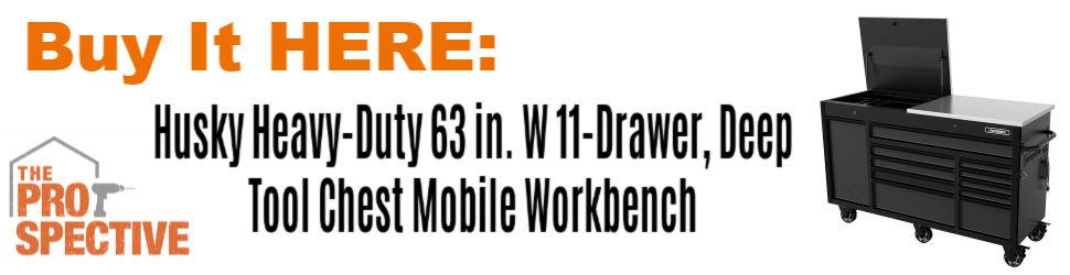 Buy it here Husky Heavy-Duty 63 in. W 11-Drawer, Deep Tool Chest Mobile Workbench