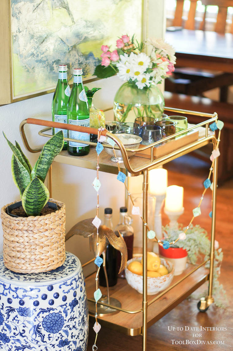 bar cart decorated for the holidays