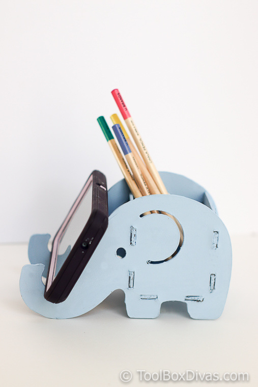 DIY Wooden Elephant Pencil and Phone Holder