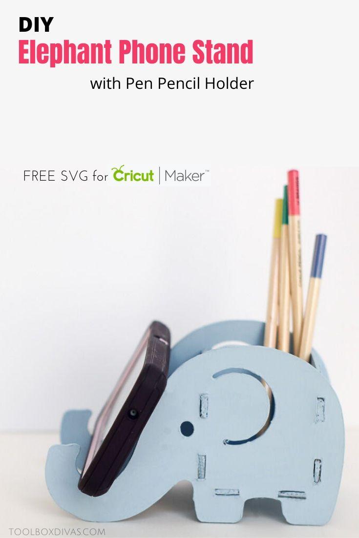 DIY Wooden Elephant Pencil and Phone Holder @toolboxdivas.com desk organizer Cricut Maker project