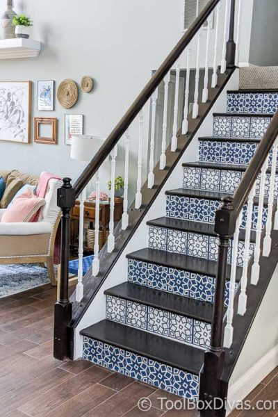 DIY Viynl Mosaic Tile Stair Riser Decals with Cricut - @ToolBoxDivas (6 of 94)