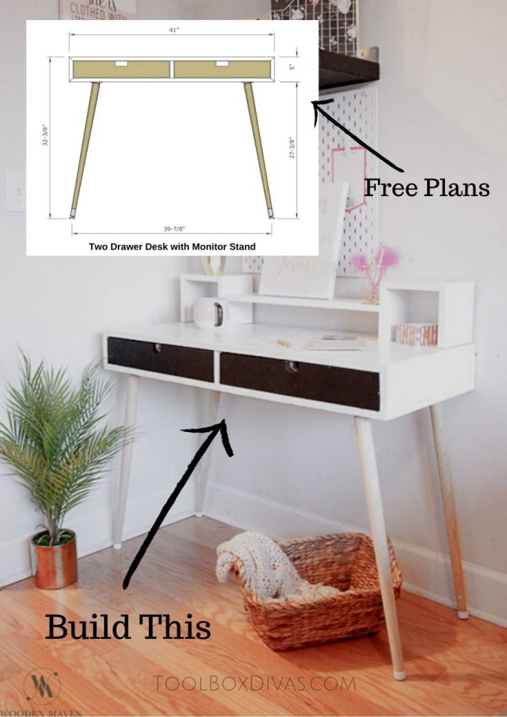 2 drawer desk with Monitor Stand @ToolboxDivas Free plans woodworking