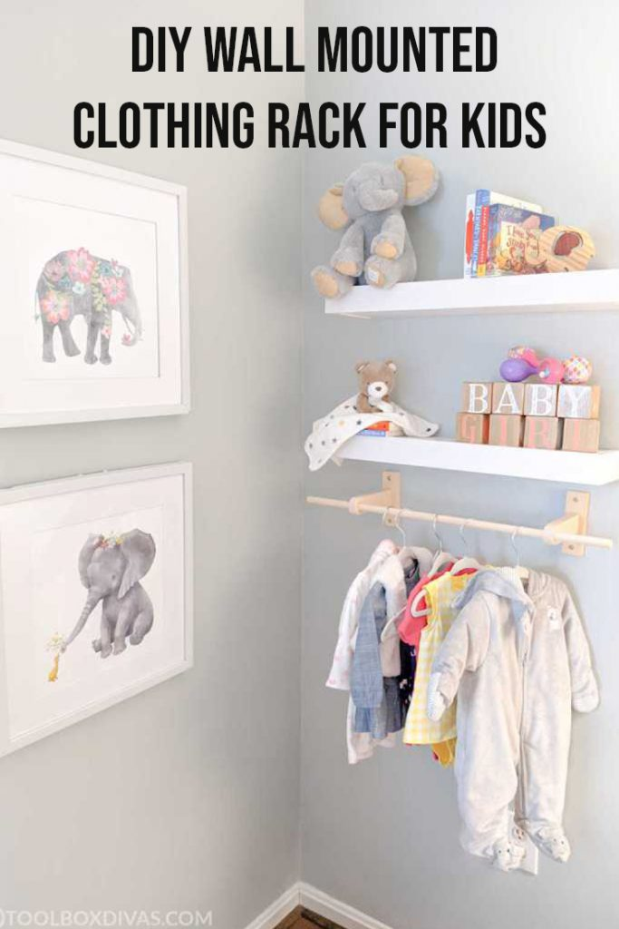 Image to pin to pinterest DIY wall mounted clothing rack for kids