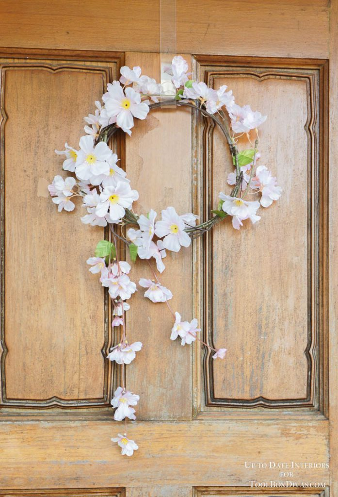 sakura wreath on wood door