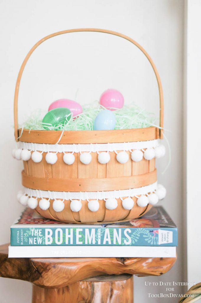 easter basket with pom pom trim