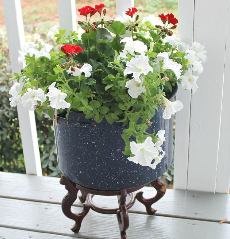cooking pot made into a planter