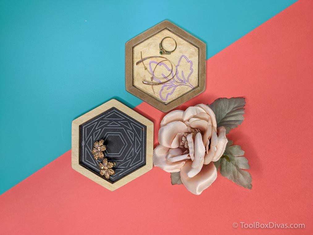 DIY Hexagon Jewelry Tray with Foil Inlay