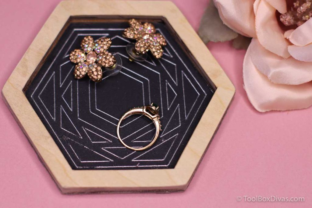 DIY Hexagon Jewelry dish tray organizer using new Cricut Foil Transfer System