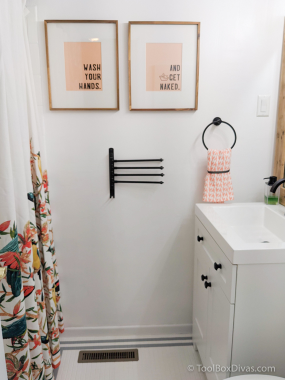 view of completed DIY bathroom makeover