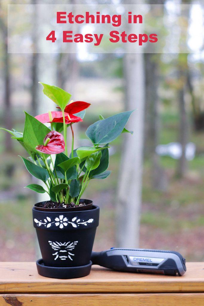 DIY Etched Terracotta Flower Pot by Toolboxdivas