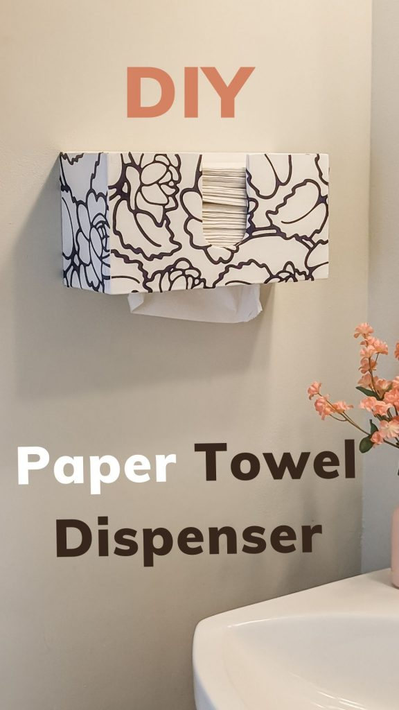 DIY paper towel dispenser wall mount for to place on counter for c fold or multi fold paper towels napknis @toolboxdivas.  A dremel project #THDProspective #HomeDepotPartner