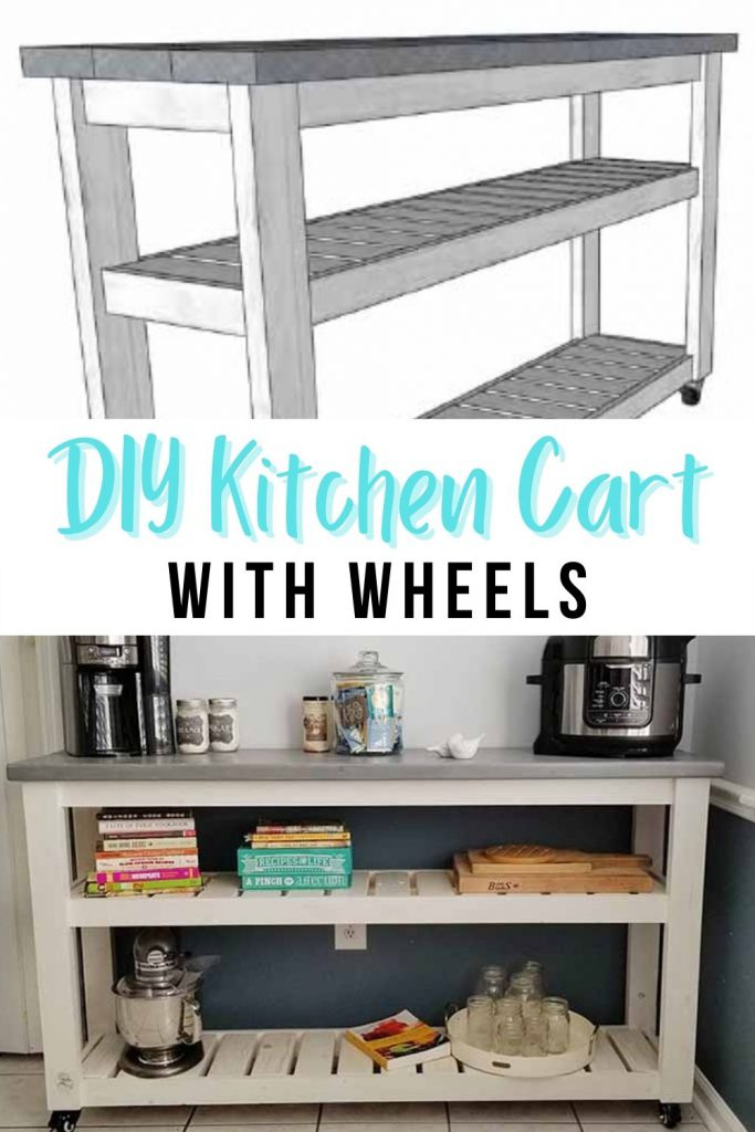 image collage of cart with text DIY Kitchen Cart with Wheels