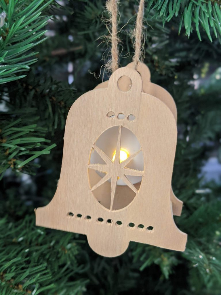 DIY Christmas Ornament using Cricut Maker Lighted Bell Shape