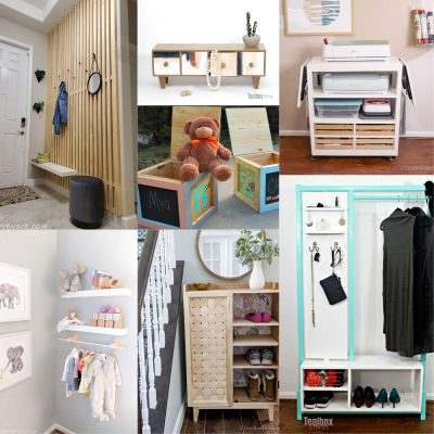 image collage of DIY home storage ideas