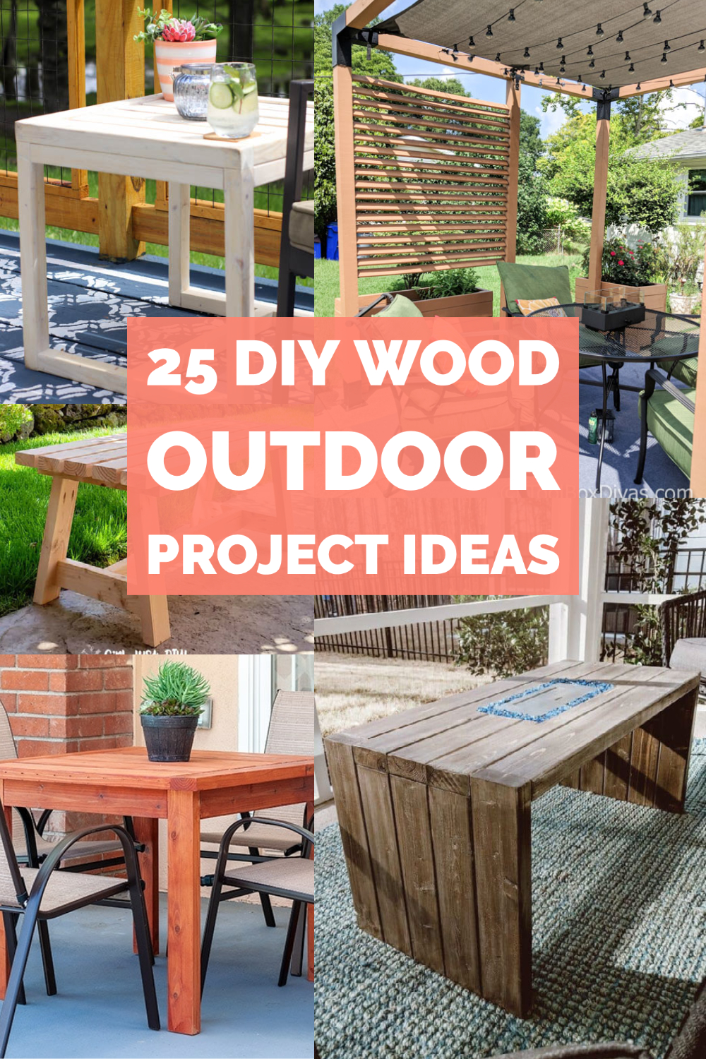 image collage of DIY wood outdoor furniture projects