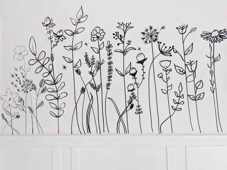 completed wildflower sharpie wall mural