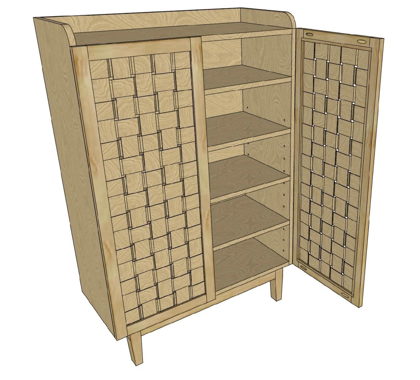 3d plan view of DIY shoe cabinet