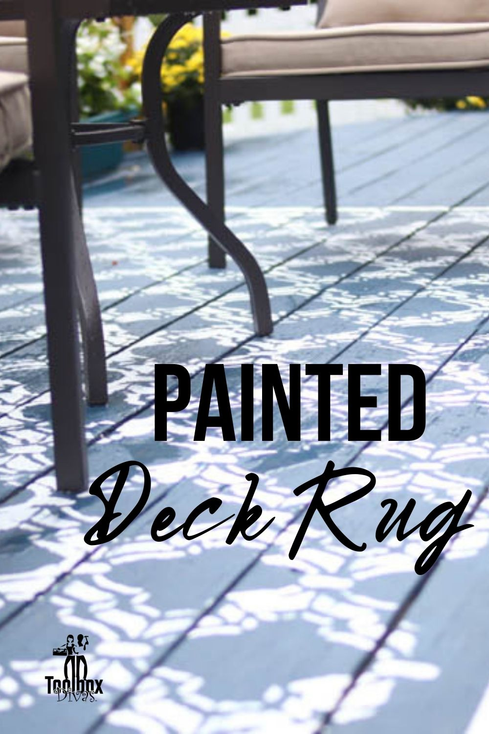 closeup of painted deck rug with text overlay