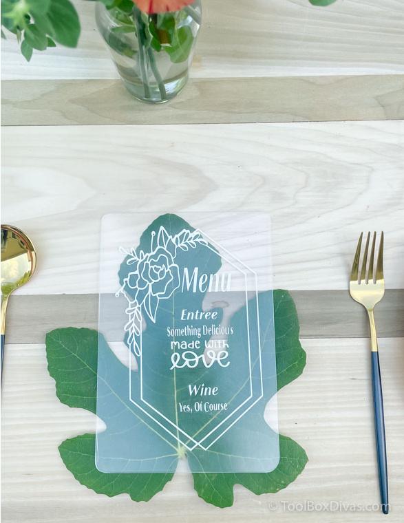 Easy Outdoor Tablescape Ideas you Can Create with a Cricut by ToolBox Divas (45 of 97) Acrylic Menu Card