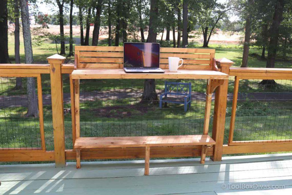 How to Make a Balcony Bar Table Use as a Desk outdoors - Toolbox Divas (19 of 35) outdoor desk