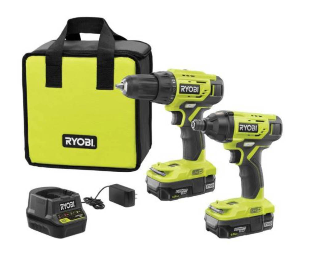 set os two cordless drills with bag and charger